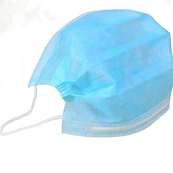 CHRISLZ máscara desechable azul máscara no tejida 3 Plys máscara de filtro de polvo médica máscara quirúrgica (paquete de 50): Amazon.es: Bricolaje y ...