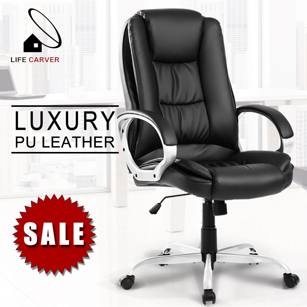 LIFE CARVER Executive Office Chair Large Computer Home Luxury Leather Swivel Adjustable High Back