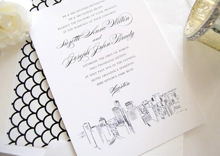 Amazon Com Houston Skyline Wedding Invitations Package Sold In