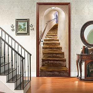 TZUTOGETHER Retirable 3D Pegatinas Decorativas de Puerta, Escaleras de Puertas Removibles/Jardín/Sea, Mural de Oficina Autoadhesivo para Puertas Interiores, Decoración de Sala de Estar 77 * 200cm (B): Amazon.es: Hogar