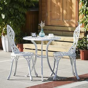 Outdoor Patio Furniture 3PCS Aluminum Bistro Set Table & Chairs Set White L0Y0
