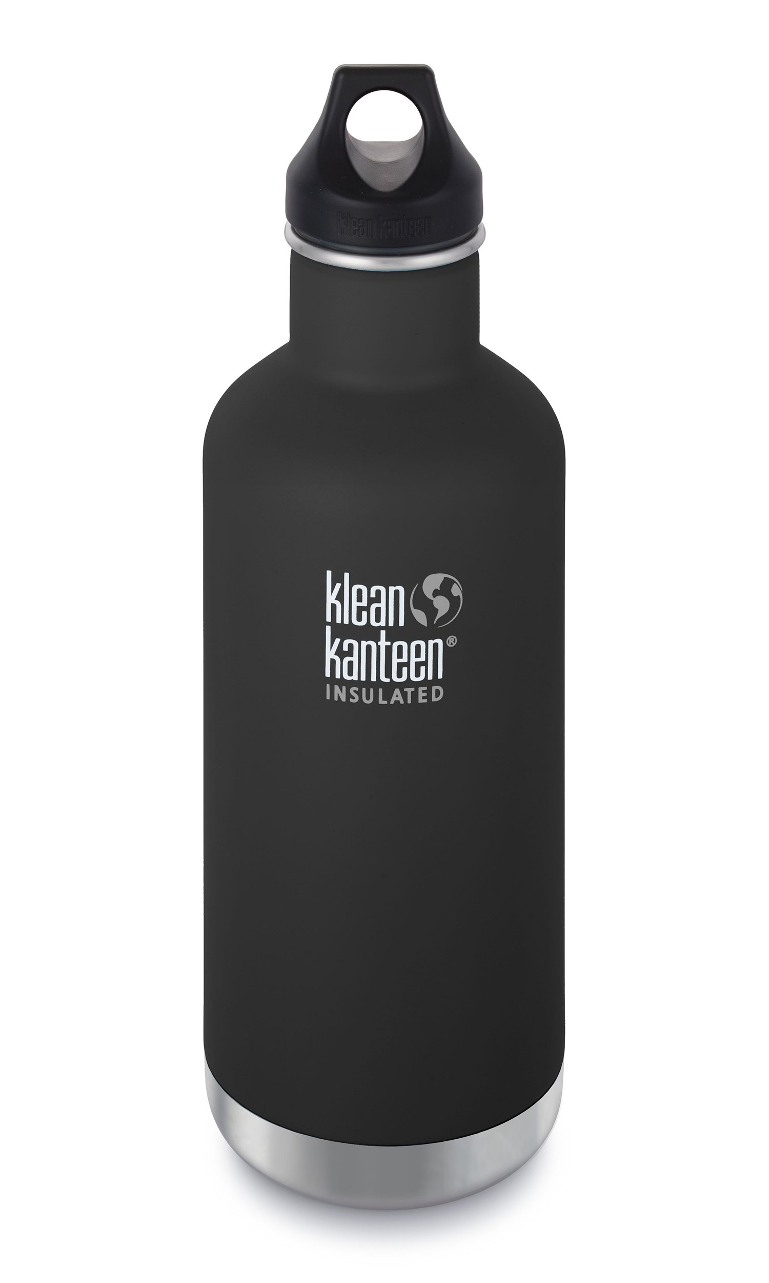 Klean Kanteen Classic Vacuum Insulated with Loop Cap, Shale Black, 32 oz.