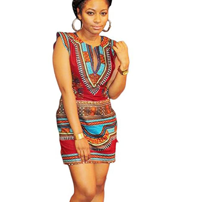 WINWINTOM Women Summer Casual Sleeveless Traditional African Print Party Dress: Amazon.co.uk: Clothing