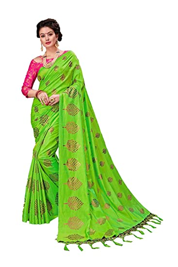 7fa41cb1b7f9 Indian Sarees for Women Wedding Designer Party Wear Traditional Parrot Green  Sari.: Amazon.co.uk: Clothing