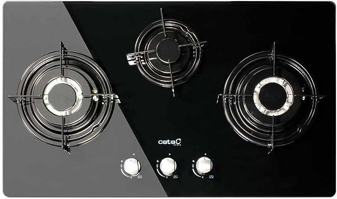 3 Quemador de gas gas hobs/Cata CI 712/A 8 mm Cristal Negras/73 cm de ancho/batteriebetriebene Impresión encendido/Autark/Multi Gas/Gas líquido/Marca de calidad de la UE desde 1947): Amazon.es: Grandes electrodomésticos