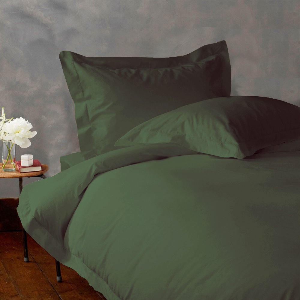 LACASA BEDDING 300 TC Egyptian cotton Duvet Cover Italian Finish Solid ( Queen , Olive )