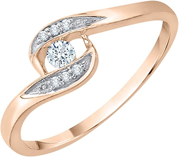 Diamond Wedding Band in 10K Yellow Gold 1//10 cttw, G-H,I2-I3 Size-3