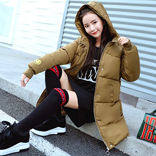 Coat DYF sleeve Jacket Loose Zipper Thickened Color Long Pocket Color Coffee Down M Solid rEEwqx1A