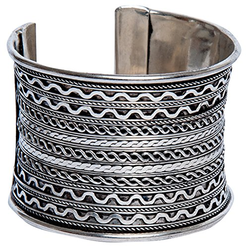 Sitara Collections SC9083 Braided Cuff Bracelet, Silver-Plated