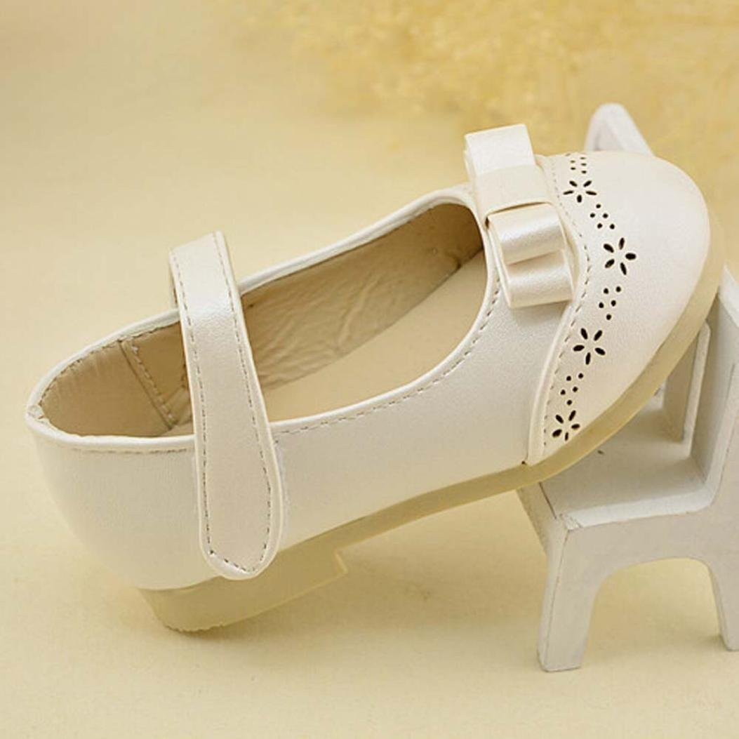 Voberry Cute Baby Kid Girls Non-slip Bowknot Mary Jane Flat Shoes