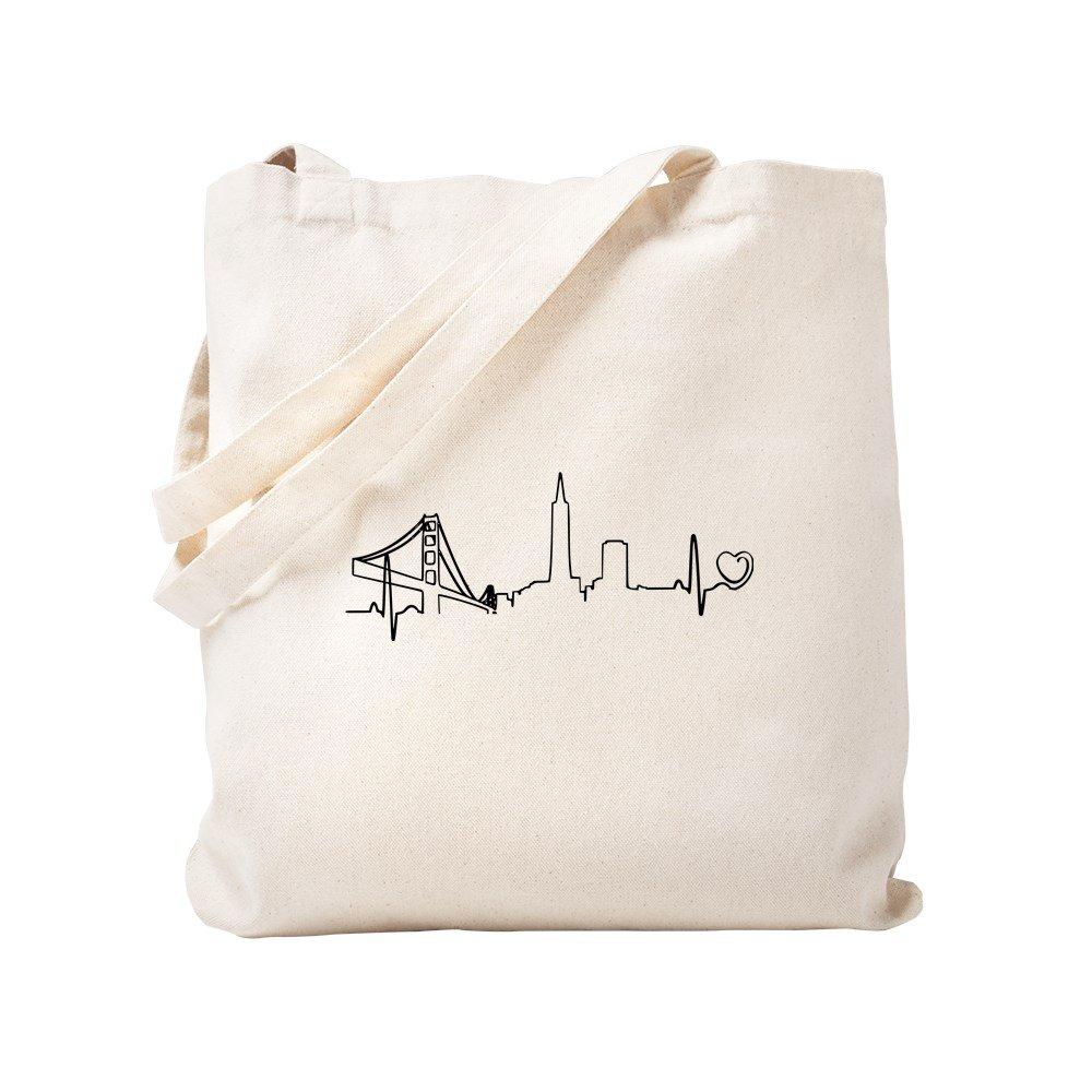 CafePress – San Franciscoハートビート(ハート) – ナチュラルキャンバストートバッグ、布ショッピングバッグ S ベージュ 0872507141DECC2 B0773S3X3M S