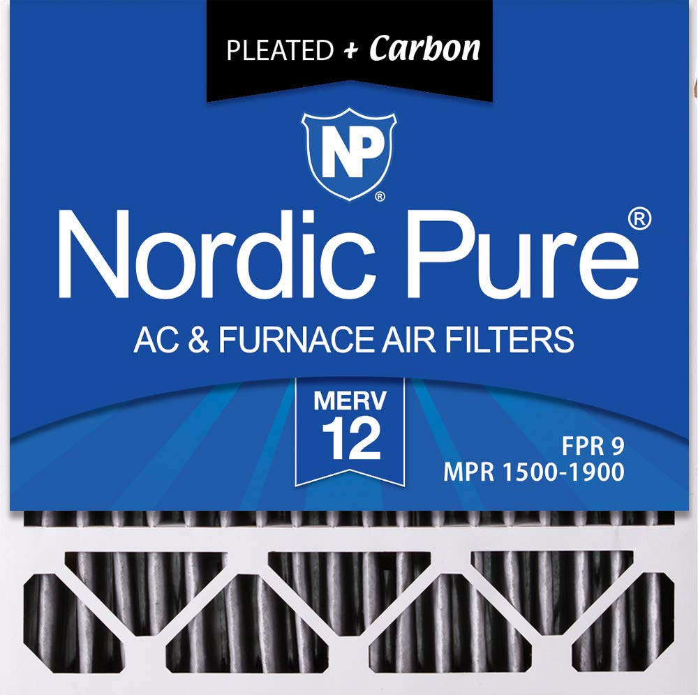 Nordic Pure 20x20x5HPM12C-2 Honeywell Replacement Pleated MERV 12 Plus Carbon Filter (2 Pack), 20 x 20 x 5""