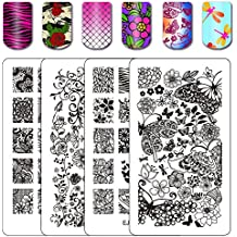Ejiubas Double-Sided Flower Nail Stamping Plates Wonders of Life Stamping Nail Art Image Plate Nail Stamping Kits 2 Count