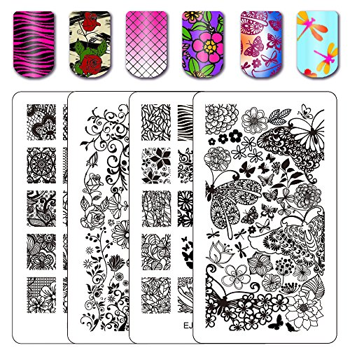 Double Sided Flower - Ejiubas Double-Sided Flower Nail Stamping Plates Wonders of Life Stamping Nail Art Image Plate Nail Stamping Kits 2 Count