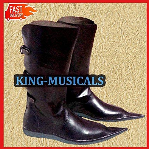 medievale marrone uomo in ALI pelle pirata lunga Boo da shoe NASIR vichingo Rinascimento stivali scarpe 5Uyfqpq