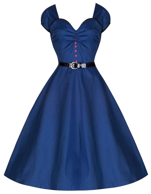 Aivtalk Damen Audrey Hepburn Stil 50er Retro Vintage Rückenfrei Kleid Rockabilly Swing Abendkleid - Königblau