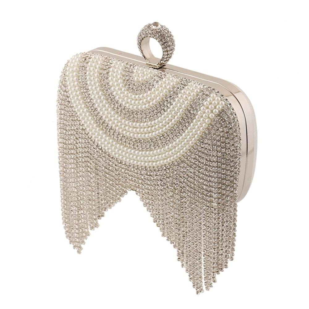 New Diamond Beaded Pearl Dinner Bag Lady Bag Banquet Bridal Bag Clutch