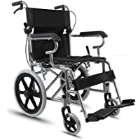 Wheelchair Portable Transport Folding Wheelchair Portable Travel Chair With Seated Disabled Elderly Wheelchair Driver Push Scooter (Color : Black)