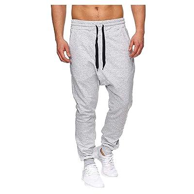 Leadmall Men's Jogger Training Pants - Men Workout Running Pants Harem Drop Crotch Trousers with Drawstring: Garden & Outdoor