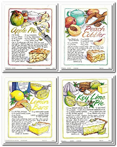 Wall Decor Art Print Homemade Key Lime Pie, Apple Pie, Peach Cobbler, Lemon Bars Recipe Kitchen Four Set 8x10 Poster Picture
