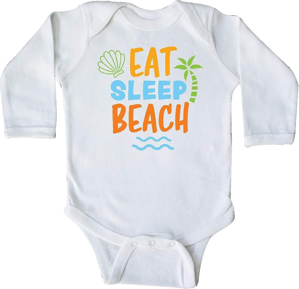 inktastic Eat Sleep Beach with Seashell and Palm Tree Long Sleeve Creeper