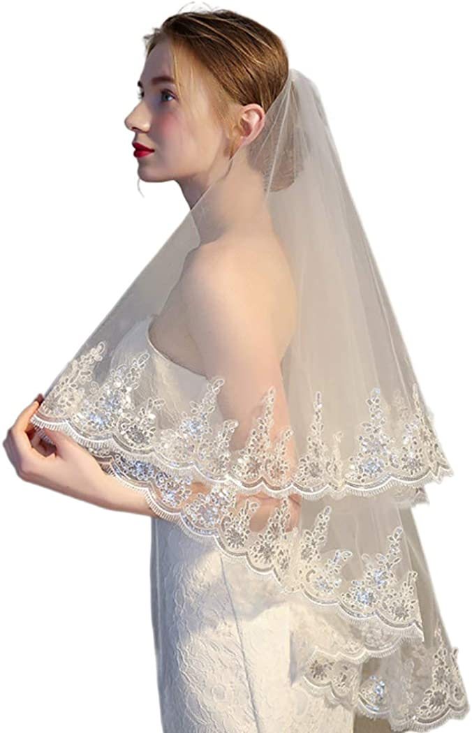 Leiothrix Women's Wedding Lace Sequins Veil 2 Tier with Comb Chapel Veils Bridal Haiapieces