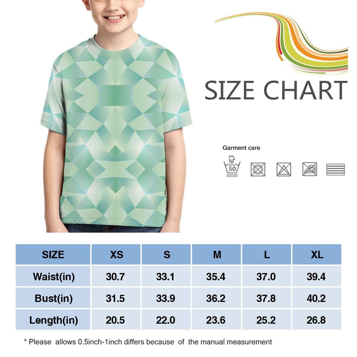 HHTZTCL Green Geometry Boys Print Graphic Tee Short Sleeve T-Shirt