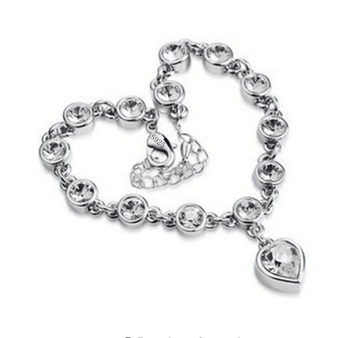 Elensan S925 Sterling Silver Heart Fashion Tennis Bracelet Cubic zirconia Jewelry