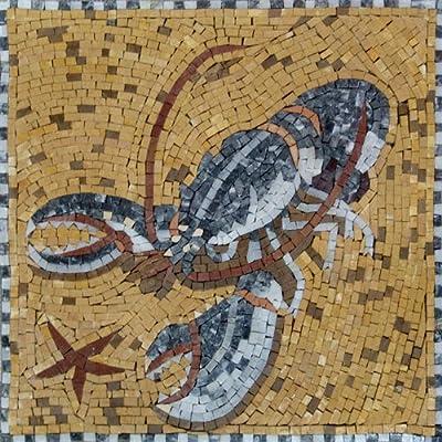 Lobster Mosaic Marble Hand Made Tiles Stone Bath Pool Wall Mural Art Decor
