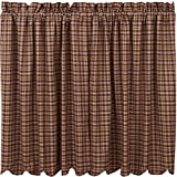 VHC Brands Rustic & Lodge Kitchen Window Curtains-Prescott Brown Scalloped Tier Pair, L36 x W36 Review
