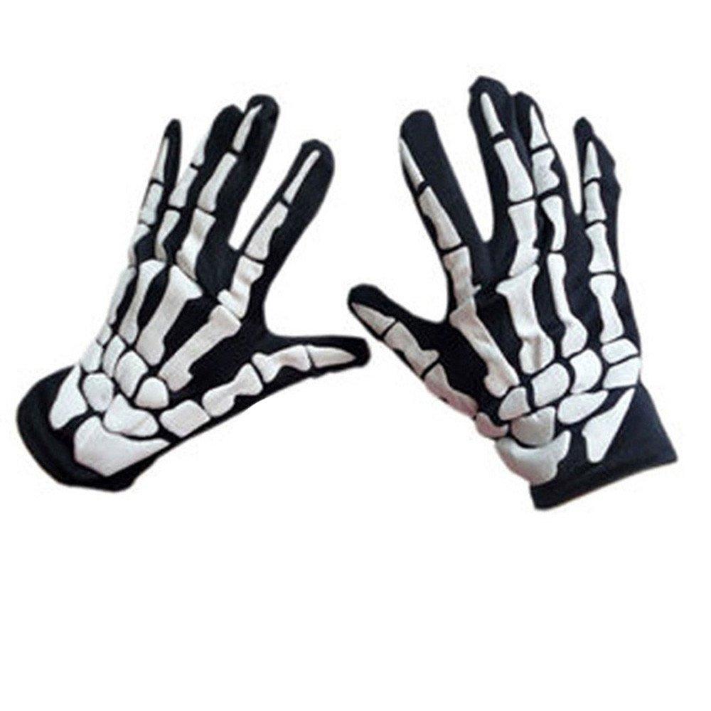 Bolayu Fashion Halloween Horror Skull Claw Bone Skeleton Goth Racing Full Gloves (Black)