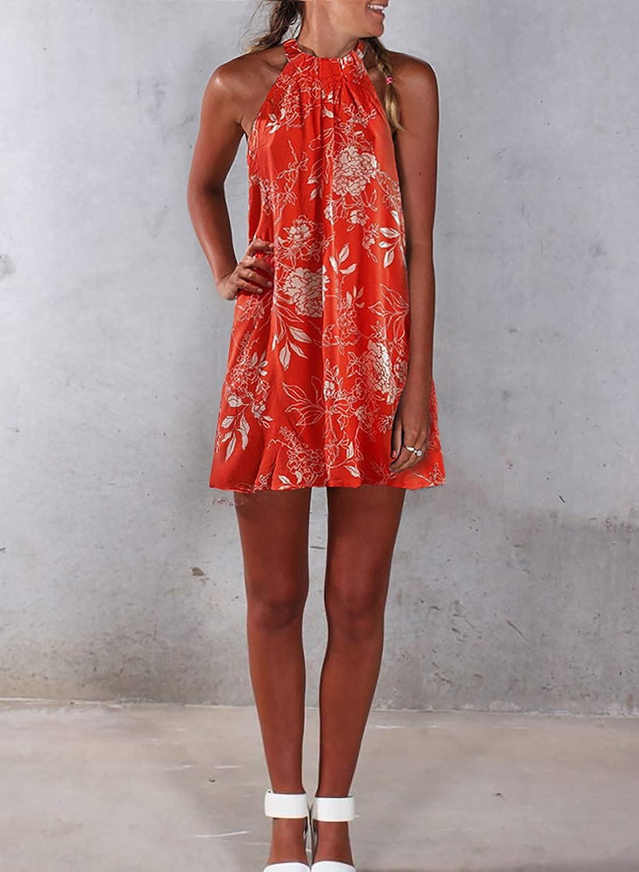 S-XL Eytino Women Halter Neck Boho Floral Print Casual Sleeveless Mini Beach Dress Sundress
