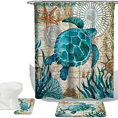 Amagical Sea World Sea Turtle Pattern 15 Piece Bathroom Mat Set Shower Curtain Set Bathroom Mat Carpet Contour Mat Fabric Waterproof Shower Curtain with 12 Hooks (Sea Turtle Rug Bathroom)