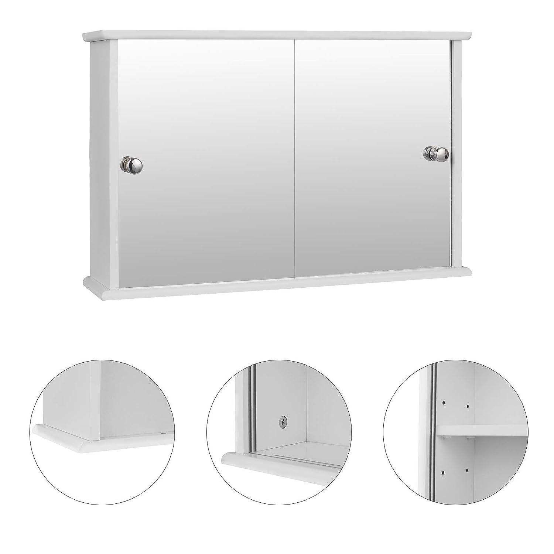 eSituro Armadietto Bagno con Specchio a Ante e Ripiani Regolabili Contenitore Armadietto a Muro SBP0029