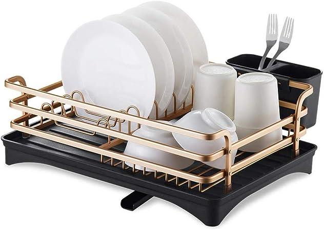 Bandeja de secado de platos, bandeja de cubiertos extraíble y escurridor, con soporte de cubertería de gran capacidad de almacenamiento, bandeja de secado de platos de fregadero, bandeja de desagüe de: Amazon.es: