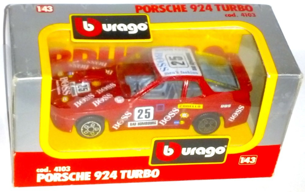 Amazon.com: Bburago Die Cast Metal with Plastic Parts Porsche 924 Turbo 1/43 Scale: Toys & Games