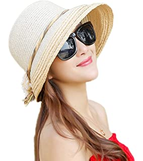 bf53d6ef8bf Cupcinu Straw Hats Summer Sun Beach Hats Wide Brim Straw Hats Flower Decor  Foldable Packable Straw