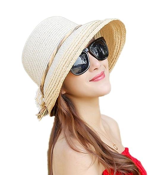 Leisial Sombrero de Playa para Sol Gorro Ala Ancha Protector Solar Visera  Sombrero de Paja Verano para Mujer 4e381303687