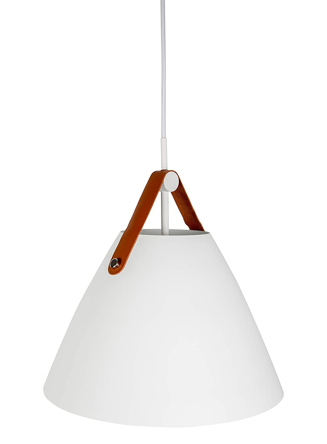 Hyperikon pendant light 14 inch white ceiling light fixture iron cone with leather strap hardwired modern pendant lamp e26 one light fixture