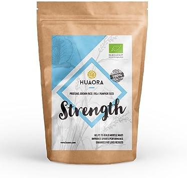 Huaora - Strength, Proteína Vegana Ecológica en Polvo, 250gr | Mix de Proteínas Vegetales Orgánicas | Certificado Orgánico - Sin Alergenos, Sin ...