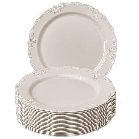 Silver Spoons VAJILLA para Fiestas DESECHABLE Vintage Collection 20 Platos para Ensalada| Elegante Aspecto de