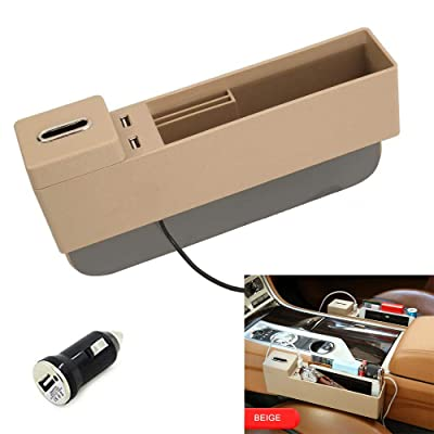 AUCD Car Console Side Pocket Seat Crevice Storage Organizer Seat Gap Pocket Organizer with Non-Slip Mat, Coin Box and 2 USB Charging Ports for Automotive Interior Accessories (Beige): Automotive