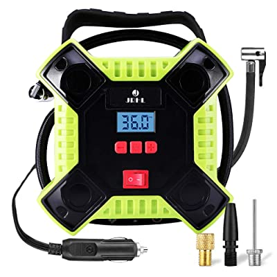 Air Compressor Tire Inflator 12v DC Portable Auto Tire Pump with Digital Display Shut Off Feature Durable and Reliable Tire Air Pump for Car Bicycle Balls Swimming Rings Toy (DC Only Version, Green): Automotive