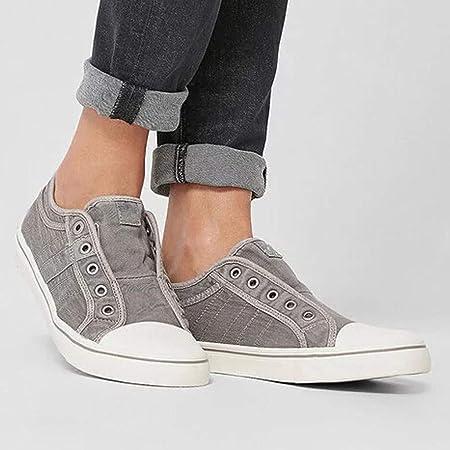 YWLINK Zapatillas De Lona De Gran TamañO para Mujer, Zapatos Lok Fu, Vaquera con Cremallera, Un Pedal Plano, Zapatos Perezosos, Zapatos Casuales Confort Zapatos Solos Deportes Al Aire Libre Ciclismo