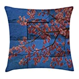 Ambesonne Rustic Home Decor Throw Pillow Cushion Cover by, Thai Sakura Blossom Mural Branch with Flowers Spring Floral Beauty Print, Decorative Square Accent Pillow Case, 16 X 16 Inches, Pink Blue