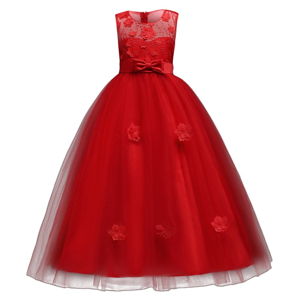 IBTOM CASTLE Little Big Girls'Tulle Retro Vintage Dresses Flower Lace Pageant Party Wedding Bridesmaid Floor Length Dance Evening Gowns Red 14-15 Years