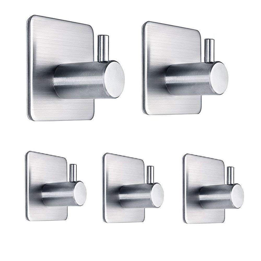 HomWis Adhesive Hooks, Durable 304 Stainless Steel Waterproof Wall Mounted Hangers with 3M Self Adhesive, Towel Hooks and Home Accessories Mounts&Stands for Kitchen, Bathroom, Bedroom, Office (5-PACK)
