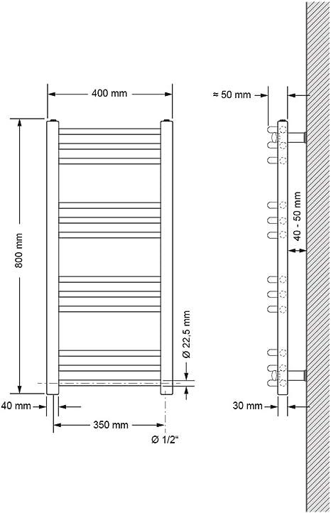 5 - Radiateur s/èche-serviettes incurv/é chrom/é Barre Horizontale Diam/ètre: 22mm w 400mm 6 x 800mm Bar Mod/èle: 4 h
