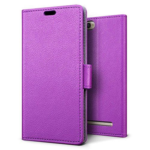Doogee X30 Case - SLEO Luxury Slim PU Leather Flip Protective Magnetic Wallet Cover Case for Doogee X30 with Card Slot and Stand Feature - Purple