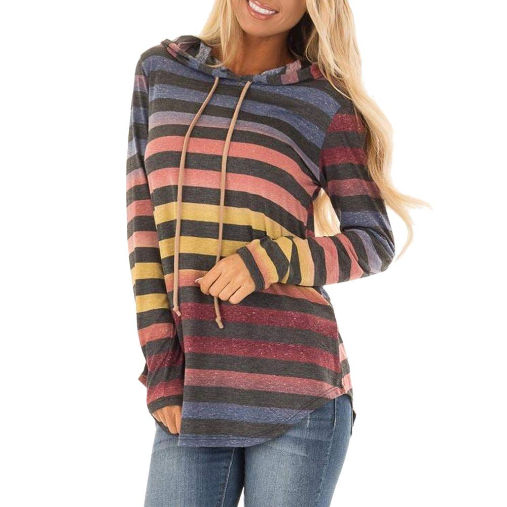 SamMoSon Womens Stripe Long Sleeve Hoodie Sweatshirt Hooded Pullover Tops Blouse hoodies 073